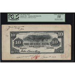 Quebec Bank, $10 Face Proof, 1898.
