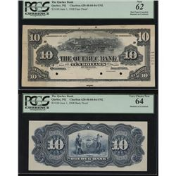 Quebec Bank, $10 1908 Back Face and Back Proofs