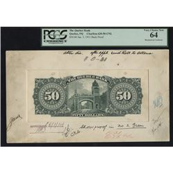 Quebec Bank, $50 (1911) Back Model
