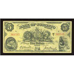 Bank of Toronto $5, 1937