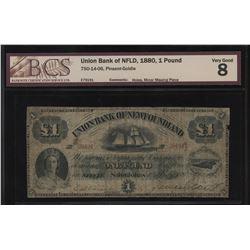 Union Bank of Newfoundland 1 Pound, 1880
