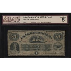 Union Bank of Newfoundland 1 Pound, 1880
