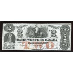 Bank of Western $2, 1859 Remainder