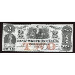 Bank of Western $2, 1859 Remainder
