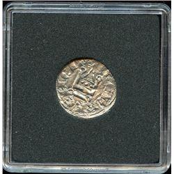 Ancient Frankish Greece Silver Denier 1287-1308 CE