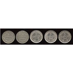 Newfoundland Five Cents - Lot of 5 Coins