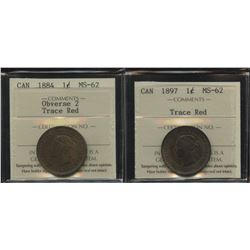 1884 & 1897 One Cent - Lot of 2