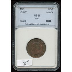 1891 One Cent Large Date