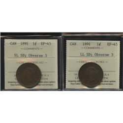 1891 One Cents - Lot of 2