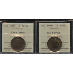 1896 & 1900H One Cents - Lot of 2 ICCS Graded Coins