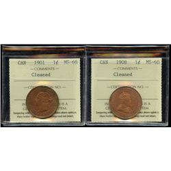 1901 & 1908 One Cents - Lot of 2 ICCS Graded Coins