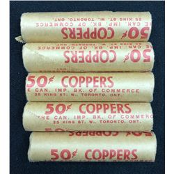 1964 One Cents Original Roll - Lot of 5