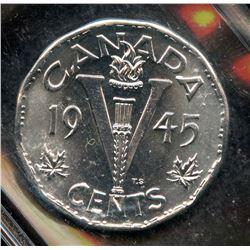 1945 Five Cents - V Nickel