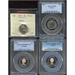 Lot of 4 Graded Canadian Five Cents