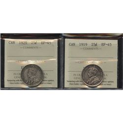 1919 & 1929 Twenty-Five Cents - Lot of 2 ICCS Graded Coins