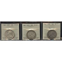 1918, 1919, 1920 Fifty Cents - Lot of 3 ICCS Graded Coins