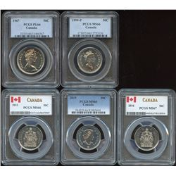 Fifty Cents - Lot of 5 PCGS Graded Coins