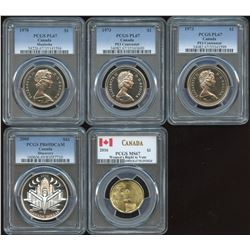 Canadian Dollar - Lot of 5 Graded Coins