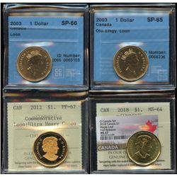 Lot of 4 Graded Loonies (2003 - 2018)