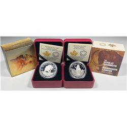 2014 Wooley Mammoth $20 & 2015 Sabre-Tooth Cat $20 Fine Silver Coins
