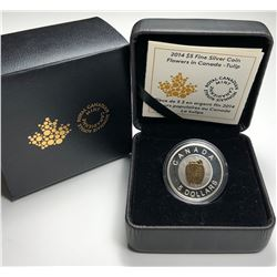 2014 $5 CANADA Silver Coin Flowers in Canada Series - Tulip (NO TAX)