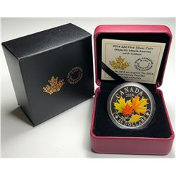 2014 $20 CANADA MAJESTIC MAPLE LEAVES WITH COLOUR (NO TAX)