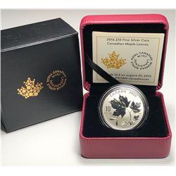 2016 $10 CANADA MAPLE LEAVES FINE SILVER COIN (NO TAX)