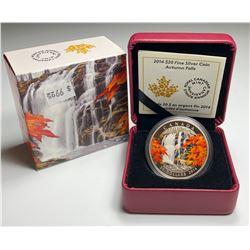 2014 $20 CANADA AUTUMN FALLS FINE SILVER COIN (NO TAX)