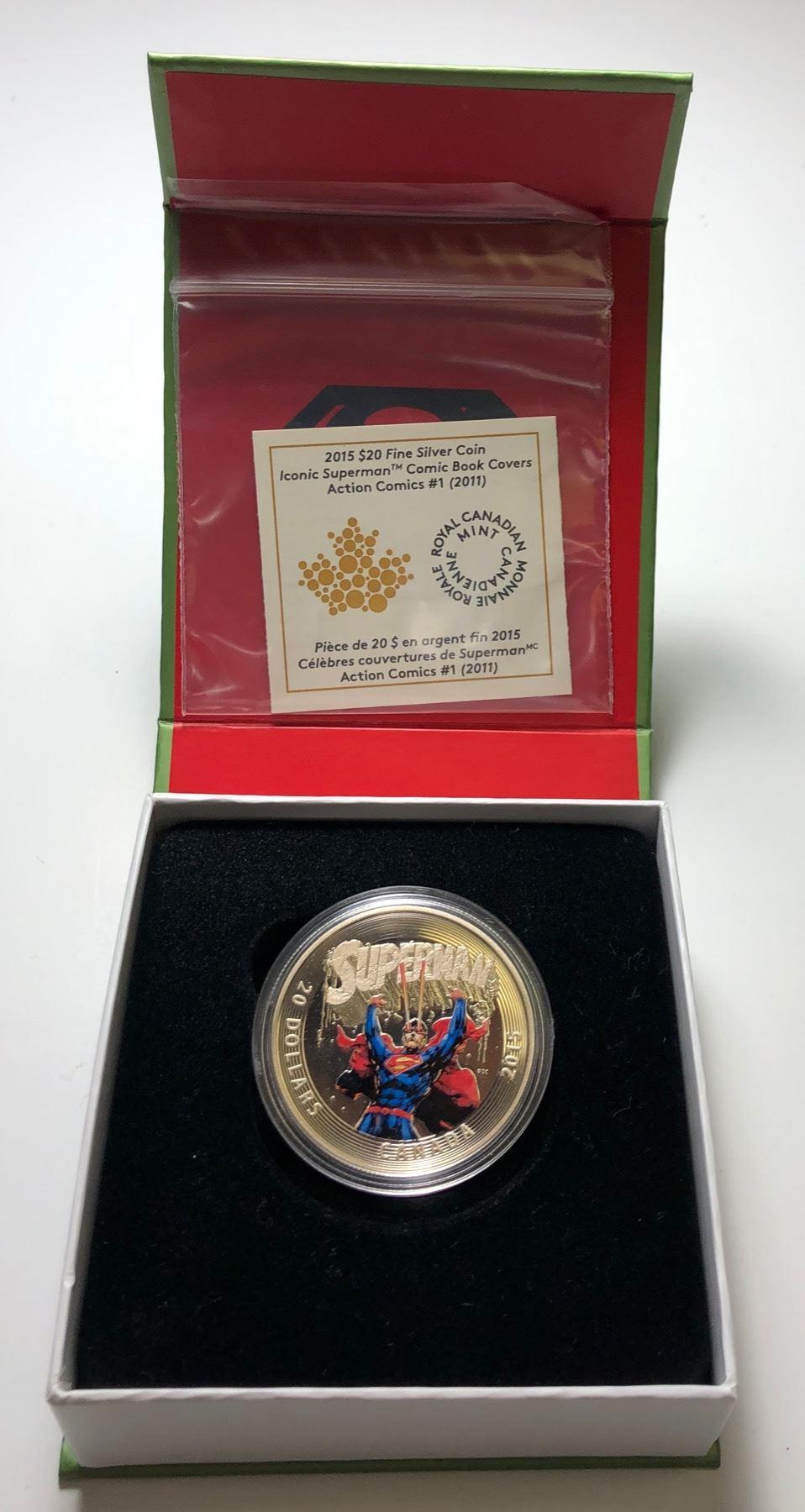Comic Book Covers Action #1 No Tax 2015 Canada Coloured Superman Silver Coin