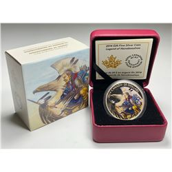 2014 $20 CANADA LEGEND OF NANABOOZHOO FINE SILVER COLOURED (NO TAX)