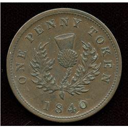 Br. 873, 1840 Nova Scotia Penny.