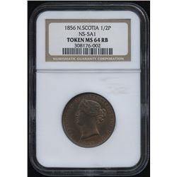 Br. 876, Nova Scotia Half Penny Token, 1856. CH NS-5A1. NGC MS64 RB.