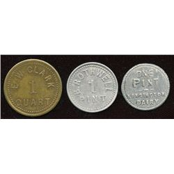 Ontario - Br. 807, 821, 822. Lot of three dairy-related tokens