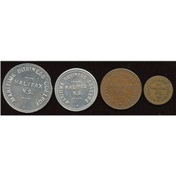 Business College Tokens Maritime Business College, Halifax, NS - Lot of 4