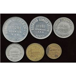 Complete Set of Horwood Lumber Newfoundland Tokens - 10, 25, 50 $1, $2, $5