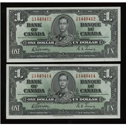 Bank of Canada $1, 1937 - Lot of 2