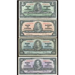 Bank of Canada $1 - $10, 1937 Set of 4 Notes