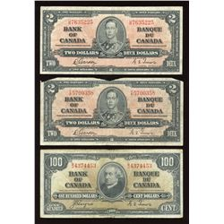 Bank of Canada, 1937 - Lot of 3 Notes