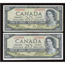 Bank of Canada $20, 1954 - Devil's Face - Lot of 2