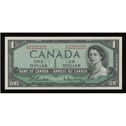 Bank of Canada $1, 1954 Solid Radar