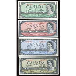 Bank of Canada, 1954 - Lot of 4 Notes