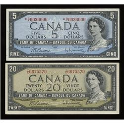 Bank of Canada 1954 - Lot of 2 Notes