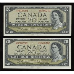 Bank of Canada $20, 1954 - Lot of 2 Consecutive Notes