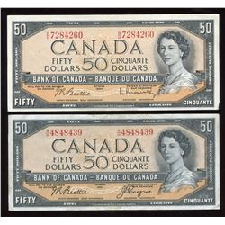 Bank of Canada $50, 1954 - Lot of 2 Different Signatures