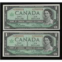 Bank of Canada $1, 1967 - Lot of 2 Replacement Consecutives Notes