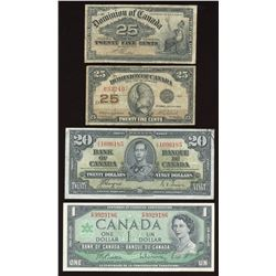 Dominion & Bank of Canada Lot of 4 Banknotes