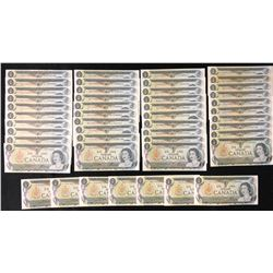 Bank of Canada $1, 1973 - Lot of 47 Notes
