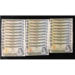 Bank of Canada $1, 1973 - Lot of 29 Notes