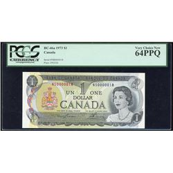 Bank of Canada $1, 1973 Low Serial Numbered Note