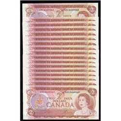 Bank of Canada $2, 1974 - Lot of 17 Consecutive Notes
